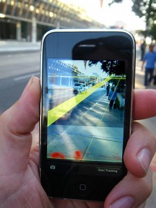 English: Mediated Reality running on Apple iPhone